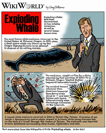 WikiWorld comic depiction of the exploding-whale incident, by Gary Williams.