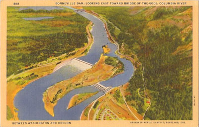 This postcard image shows Bonneville Dam, viewed from the air.