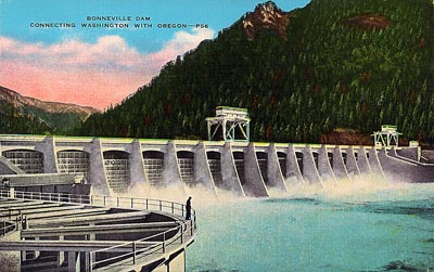 This postcard image of Bonneville Dam, viewed from the Washington side, comes from a postcard dating from circa 1945.