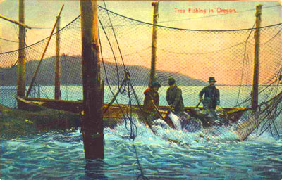 A postcard image, circa 1925, of men working a purse seiner on the Columbia.