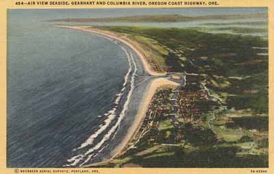A postcard image of the mouth of the Columbia, an aerial view looking north past Seaside