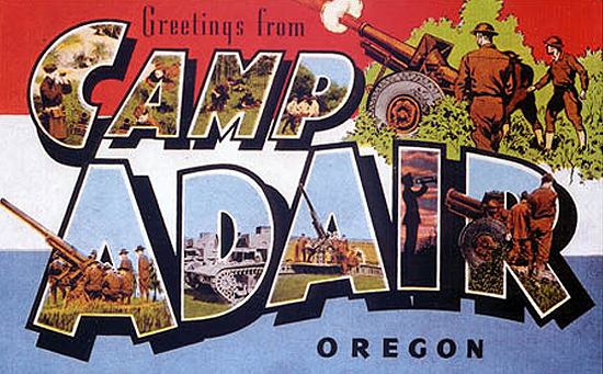 Postcard image from Camp Adair