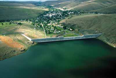 Heppner as it appears today, in an image taken from above the Willow Creek Dam -- which, despite its ominous appearance, protects the town from future inundations