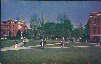 This view of the University of Oregon campus in the 1960s comes from a postcard. Condon Hall is the building on the right.