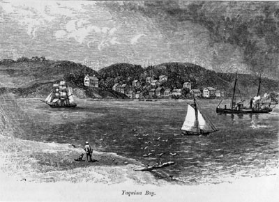 Lithograph image of Yaquina Bay as it looked in 1875.