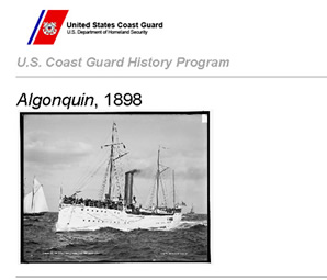 Coast Guard History Program rochure on the Algonquin.