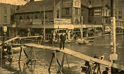 This image of Sixth Street in downtown Portland is from a postcard mailed in 1909, just 15 years after the flood.