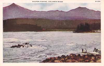 Fishermen work the Cascade Rapids near Cascade Locks, before those were flooded out by the impoundment of Bonneville Dam, in this postcard photo.