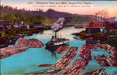 Willamette Falls and the Oregon City mills circa 1905, with sternwheeler and log rafts