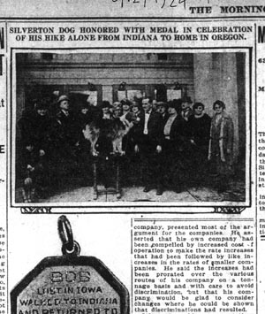 The Oregonian story about Bobbie the Wonder Dog receiving a medal from the Humane Society.