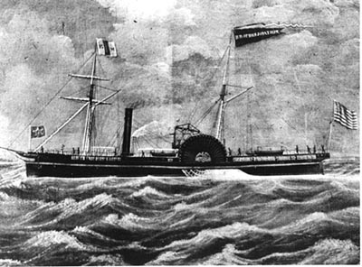The Brother Jonathan steamer after it was refitted and modernized in 1859.