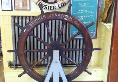 Ship's wheel from the shipwrecked Brother Jonathan steamship