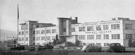 Vanport College building from before the flood; Vanport College is now Portland State University.