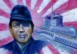 This is Meiji Tagami, commander of the Japanese Imperial submarine I-25, with his boat. Mr. Tagami, whose remains lie with those of his boat off the island of Vanatu, is the only enemy commander in history to have directly attacked Oregon soil.