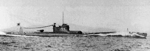 Wartime photo Japanese submarine I-25 at sea seaplane stowed