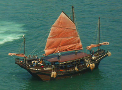A modern junk in the harbor at Hong Kong. This basic ship design dates back nearly 2,000 years, and an early example may actually have sailed to Oregon in the fifth century A.D.
