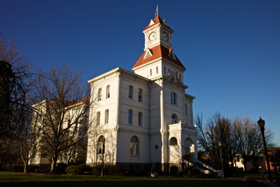 Benton County Courthouse in Corvallis, Oregon, on a clear winter day in 2009.