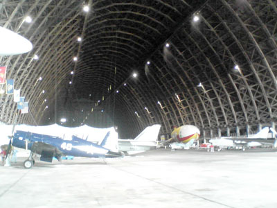 The interior of the blimp hangar in Tillamook, now home to the Tillamook Air Museum. This hangar is the only one of the remaining World War II blimp hangars that's open to the public.