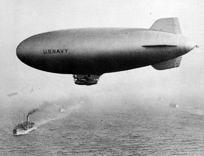 A K-class blimp on convoy escort duty. The mere presence of a blimp hovering over a convoy was enough to prevent almost all U-boat attacks.