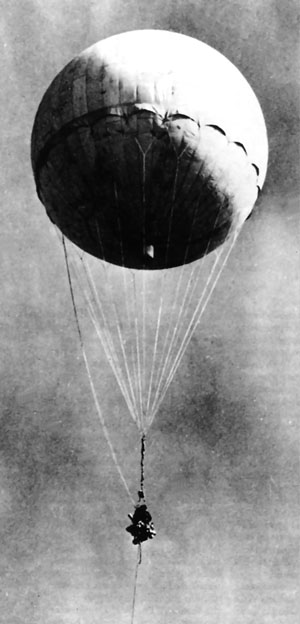 One of the Japanese balloon bombs, captured by the U.S. Army in relatively intact condition and reinflated for study in 1945.
