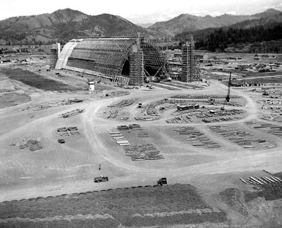The blimp hangar under construction in summer 1943.
