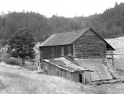 An abandoned building in Waldo, still standing in 1954.