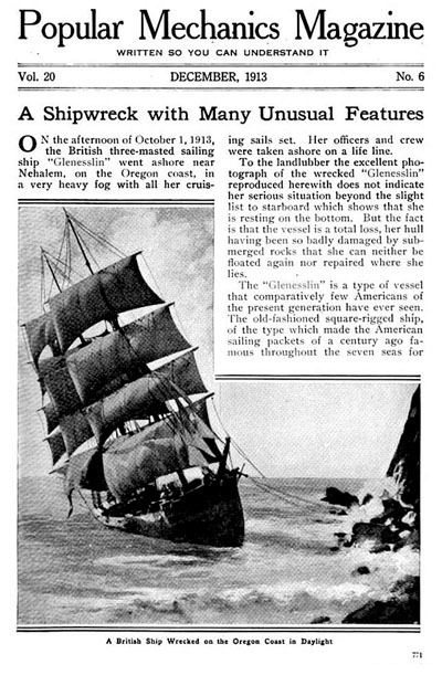 The article in Popular Mechanics telling the story of the Glenesslin shipwreck.