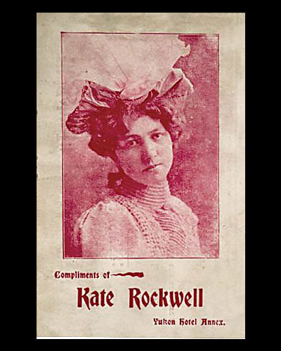Another of the calling cards Klondike Kate handed out during performances, this one showing her looking rather more serious.