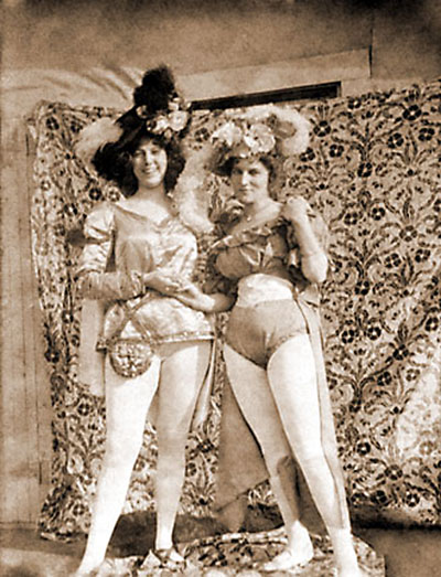 Kitty Rockwell, aka Klondike Kate, poses for a photo with a colleague in one of the ladies' hotel accomodation in Dawson City.