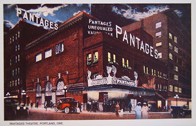 An old postcard image of the Portland, Oregon, Pantages Vaudeville theater. Alexander Pantages, founder of this large chain of venues, jilted Klondike Kate Rockwell in a particularly nasty way.