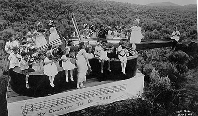 Sagebrush Symphony Orchestra on a float during Fourth of July Parade in Burns, 1915.