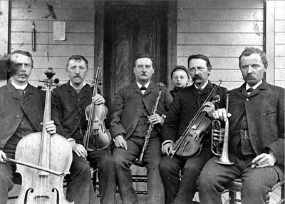 Musicians from the Aurora Colony in the 1860s. The colony's band was regionally famous.