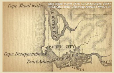 Vintage-1855 map of the Columbia River bar, before it had been tamed by jetties and dredging.