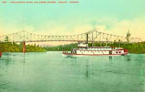 A shallow-draft riverboat of the type pioneered by Uriah B. Scott, on the river at Albany around 1900 or so.