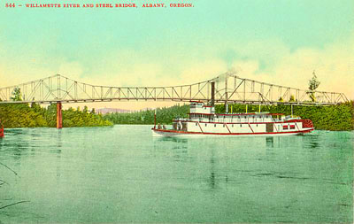 An unnamed sternwheeler makes its way through the swift currents of the Willamette River at Albany.