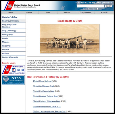 U.S. Coast Guard small boats and craft, information listed by type.