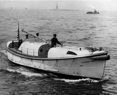 A Coast Guard legend: the indestructible, go-anywhere 36-foot motor lifeboat. The only one of these ever lost at sea on the West Coast was lost on the mission that sank the Triumph - but all the men aboard got safely ashore.