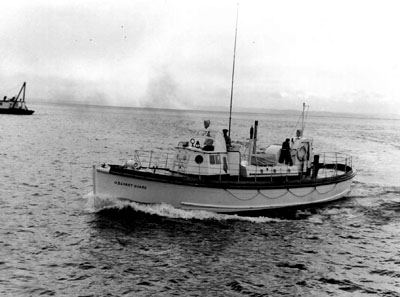 U.S. Coast Guard 52-foot wooden motor lifeboat. Although very stable, rescue boats of this type were not always able to be successfully rolled in surf.