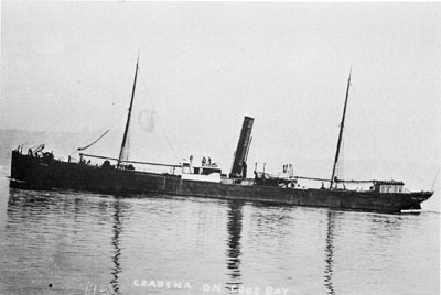 The S.S. Czarina, photographed sometime in the very early 1900s. This 216-foot steamer sank with great loss of life off Coos Bay in 1910.