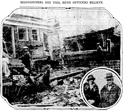 Newspaper photograph of the aftermath of the attempt to assassinate two Prohibition officers in Bend, Oregon, in 1926.