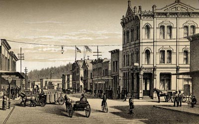 An Astoria, Oregon, street scene from 1887.