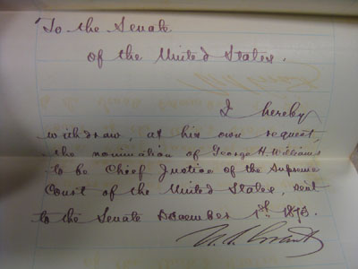 Letter signed by President Grant asking the Senate to withdraw Williams from consideration as Chief Justice.