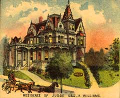 A color lithograph of George and Kate Ann Williams's Victorian  mansion, located at 18th and Couch streets downtown.