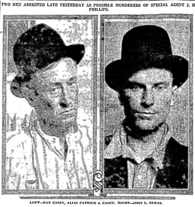 "Mugshots of the ""Boxcar Bandits,"" Dan Casey and John Burns, from the newspaper the day after their arrest."