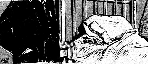 The Portland Morning Oregonian's artist's illustration of the scene when fugitive murderer Dan Casey, hiding under the bed in a cheap hotel room, went for his gun.