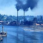 The C.D. Johnson sawmill as seen from the bay in Toledo, shortly after it had been sold to Georgia-Pacific in the 1950s.