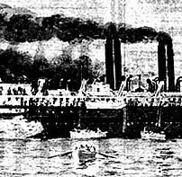 The burning steamer S.S. Congress, as seen from the deck of the dredge Colonel P.S. Michie, with lifeboats in the water.