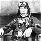 Nobuo Fujita in his flight suit with parachute on, during the war. Fujita flew the tiny submarine-launched float plane that dropped four bombs on the state of Oregon -- the only wartime airstrike on continental U.S. territory, ever.