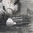 This is a newspaper illustration of the explosion of the steamer Moselle in 1838, which led to a push for regulation of steam engines to prevent similar disasters. More than four times as many people died in the Moselle explosion as that of the Gazelle — which was, itself, the single worst catastrophe in Willamette River history.