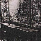 The first Shevlin-Hixon railroad-carried logging camp as it appeared in 1916. Note the bunkhouses are basically boxcars with a door and a window. (Image: Ronald L. Gregory)